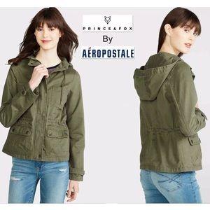 NWT L AEROPOSTALE Twill Parka Olive Hoodie Jacket